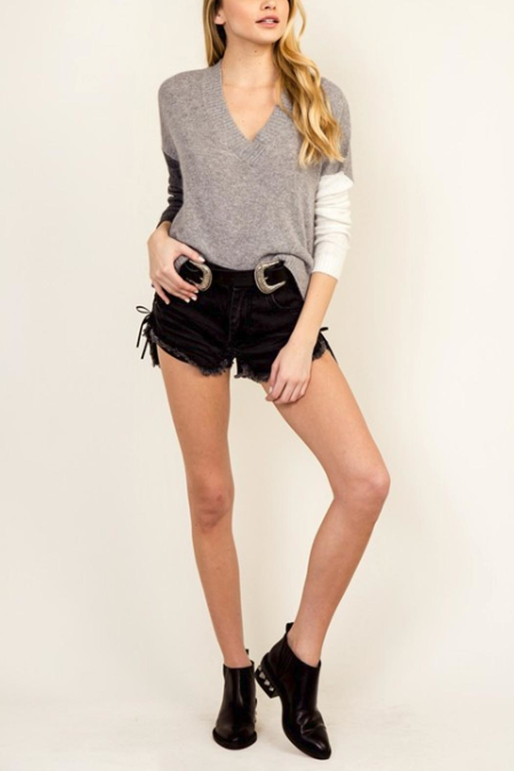 Olivaceous Color Block Sweater - Side Cropped Image