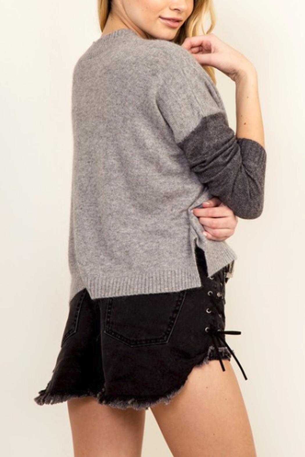 Olivaceous Color Block Sweater - Front Full Image