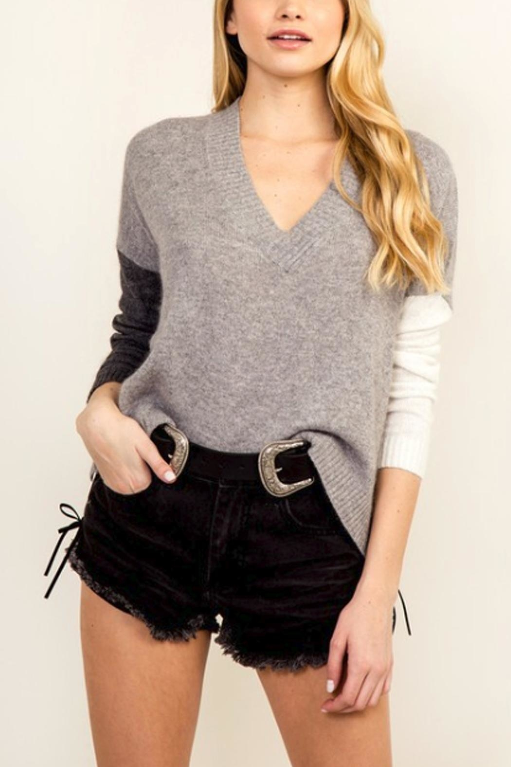 Olivaceous Color Block Sweater - Main Image