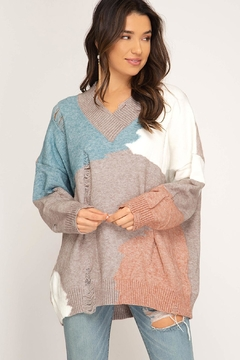 She + Sky Color Block Sweater - Product List Image