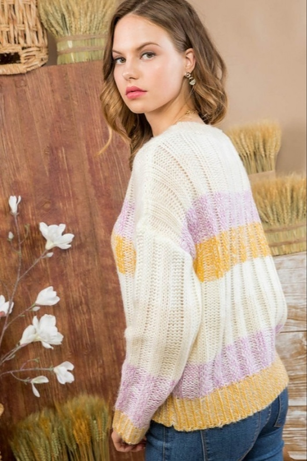 Main Strip Color Block Sweater - Front Full Image