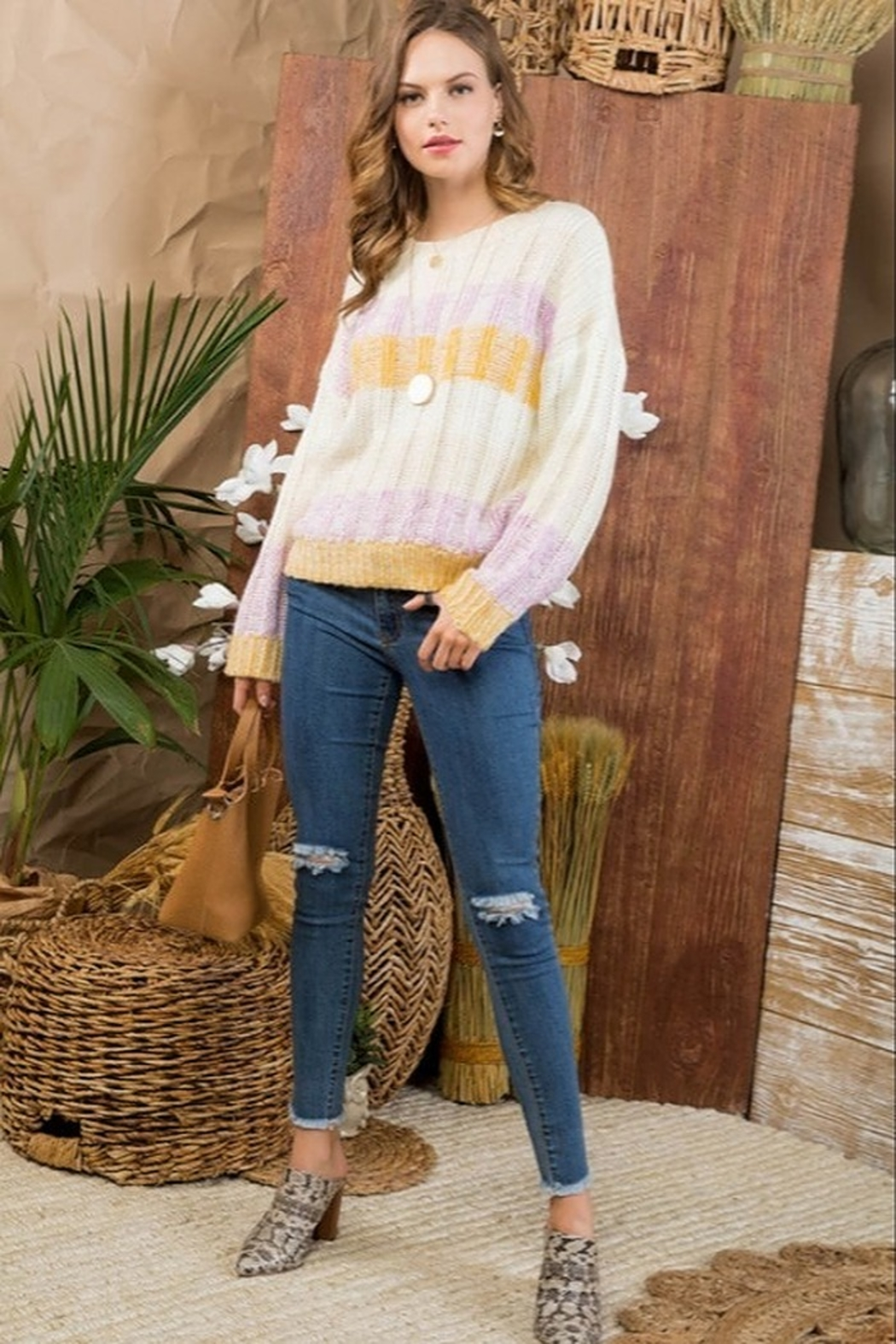 Main Strip Color Block Sweater - Side Cropped Image