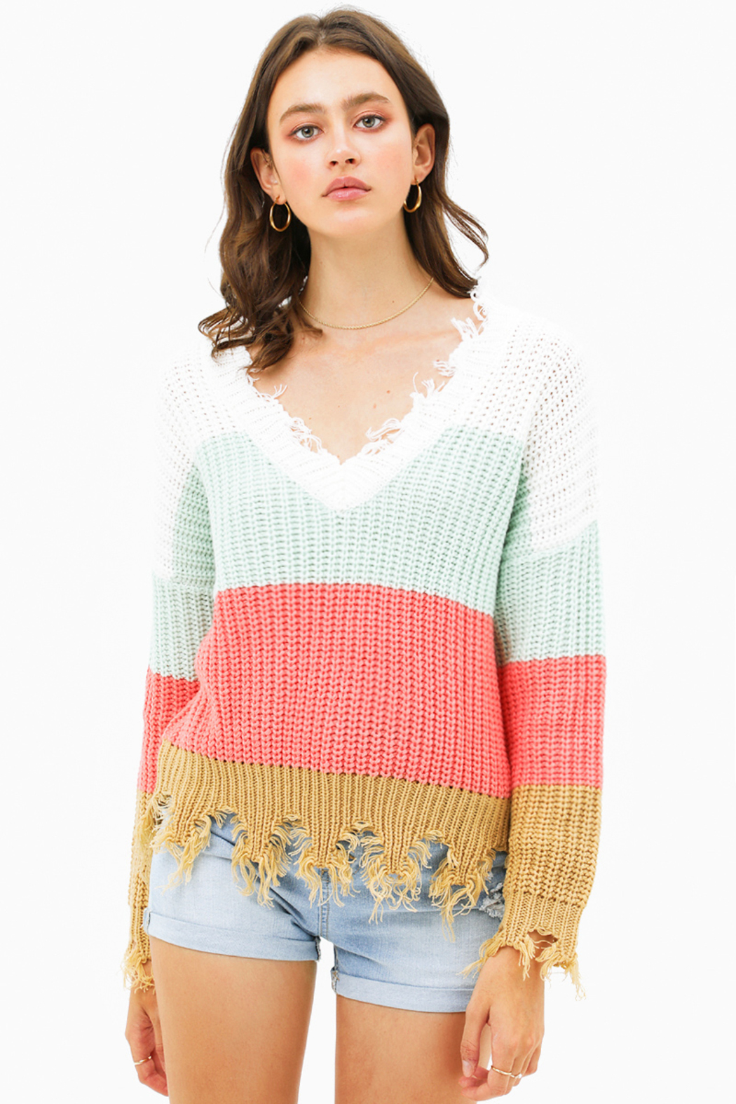 MONTREZ Color block sweater - Front Cropped Image