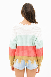 MONTREZ Color block sweater - Back cropped