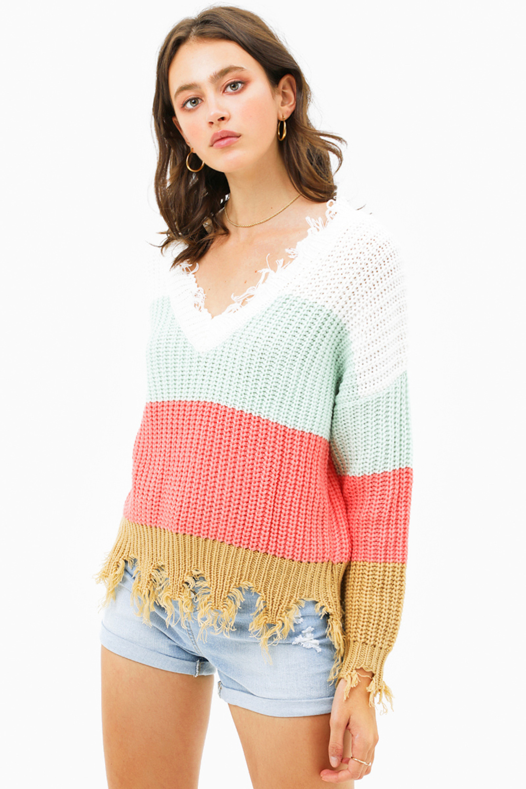 MONTREZ Color block sweater - Front Full Image