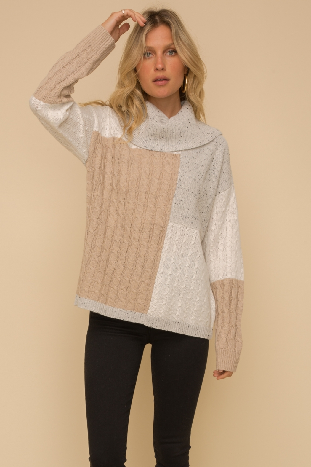 Hem & Thread Color Block Sweater - Side Cropped Image