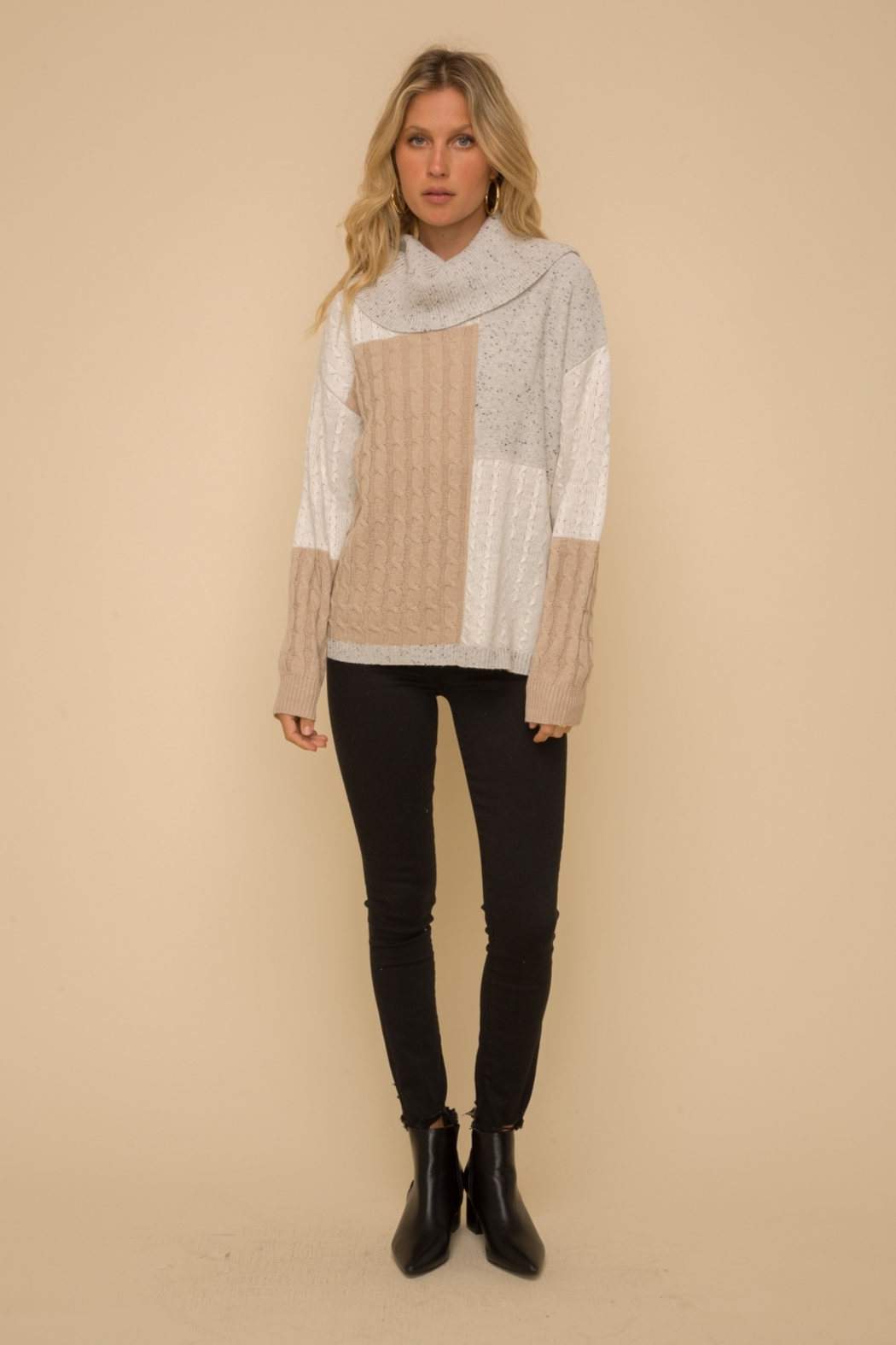 Hem & Thread Color Block Sweater - Front Cropped Image