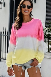 Shewin Color Block Tie Dye Pullover Sweatshirt - Product Mini Image