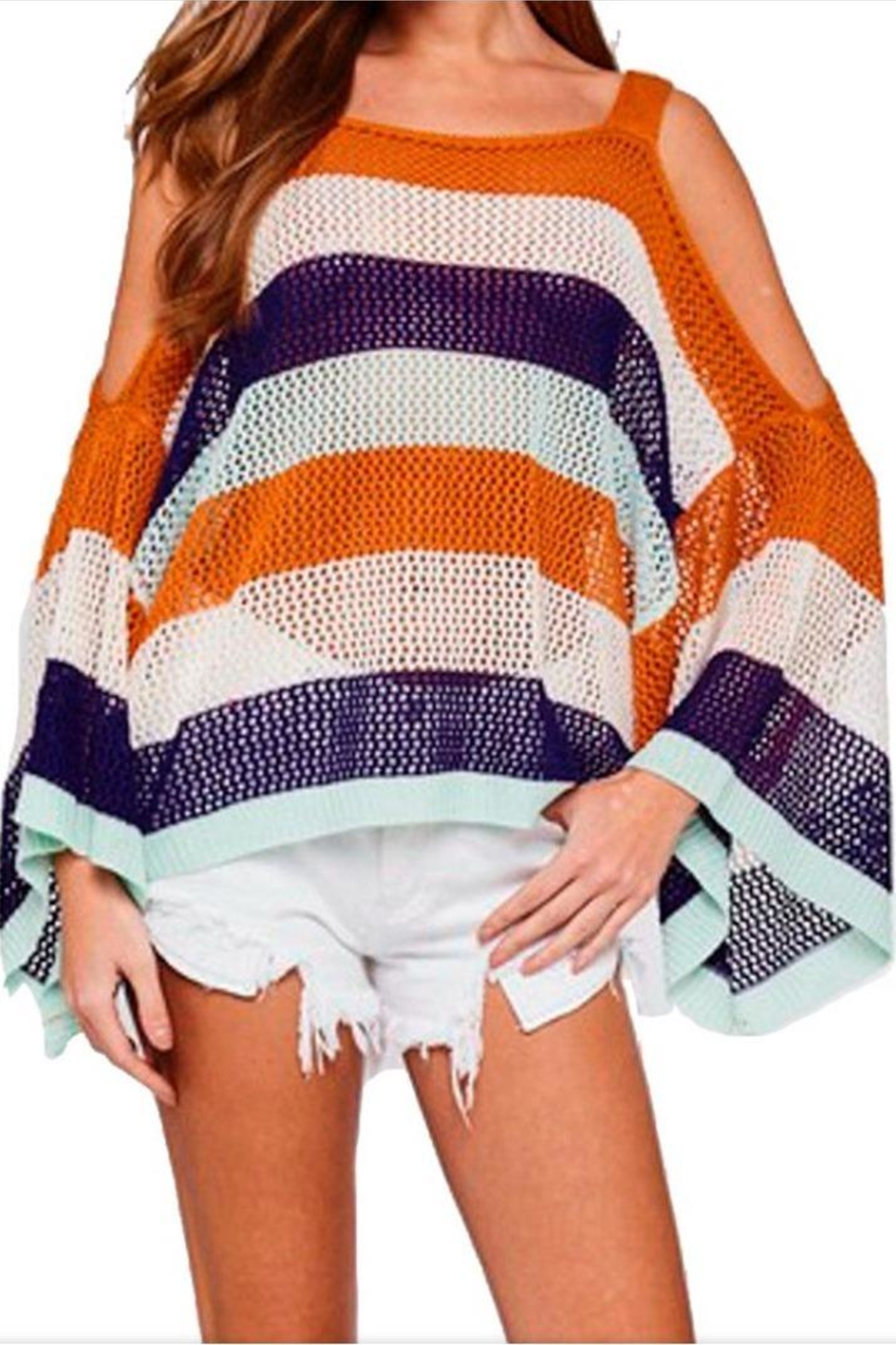 L Love Color Block Top - Front Cropped Image