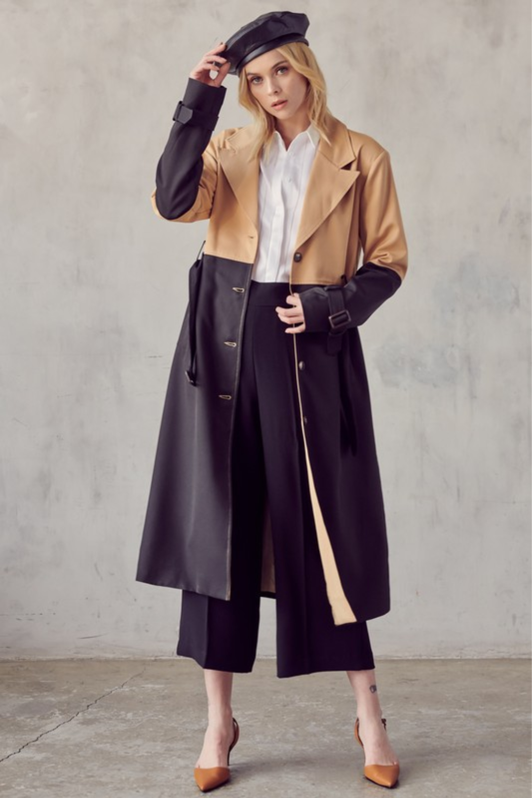 R+D Color Block Trench Coat - Main Image