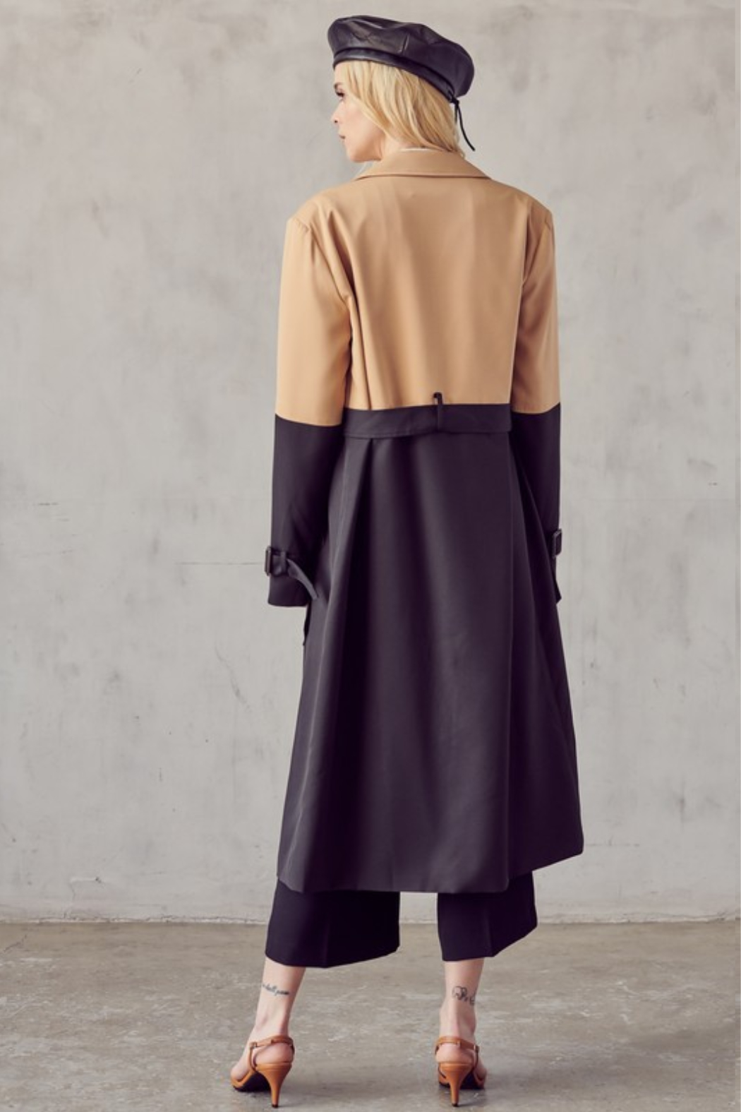 R+D Color Block Trench Coat - Side Cropped Image