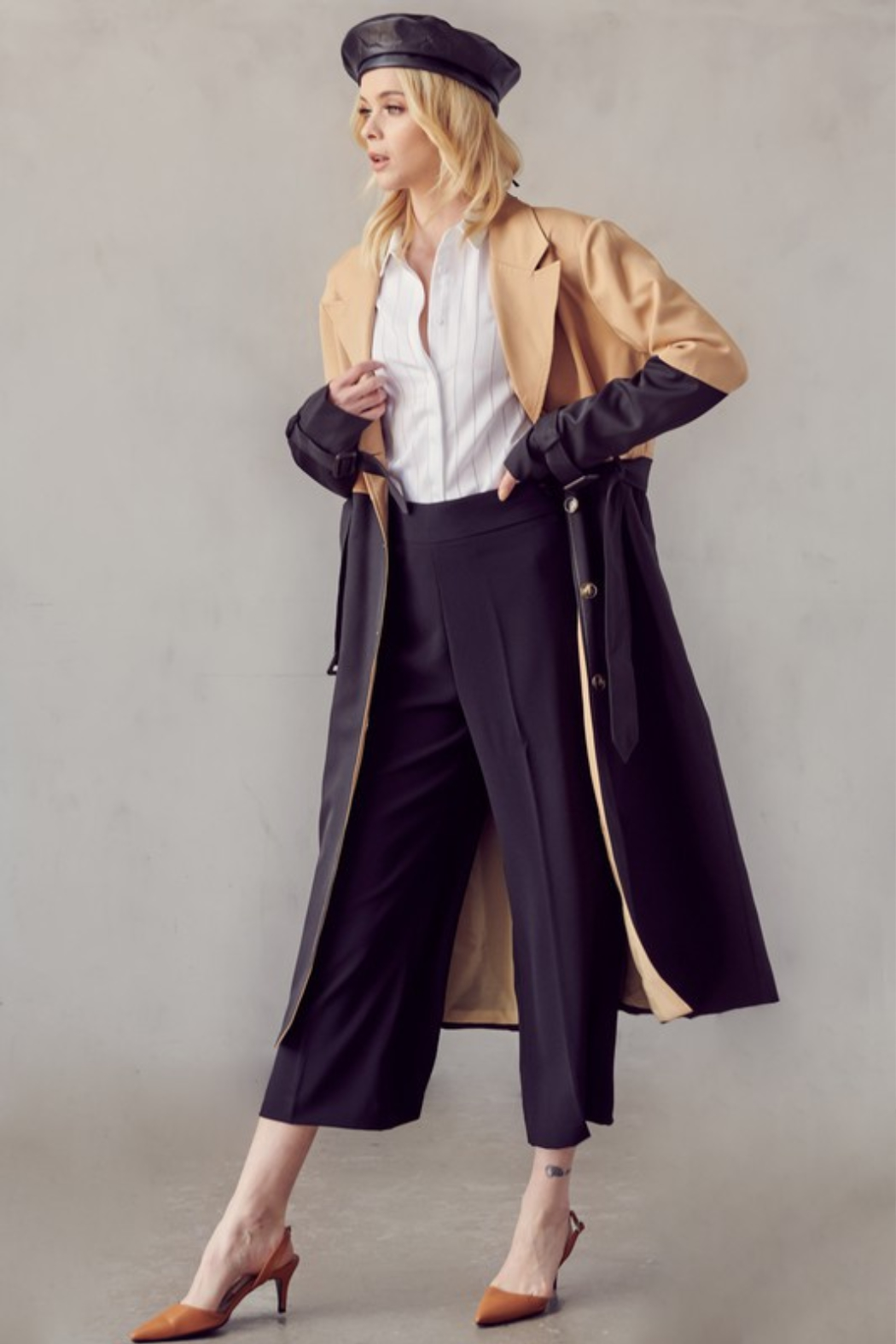 R+D Color Block Trench Coat - Front Full Image