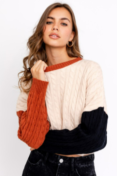 Le Lis Color Blocked Cropped Sweater - Product List Image