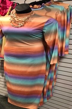 "Shoptiques Product: ""Color Me Happy"" Plus Size Rainbow fitted stretch long dress with cut out back"