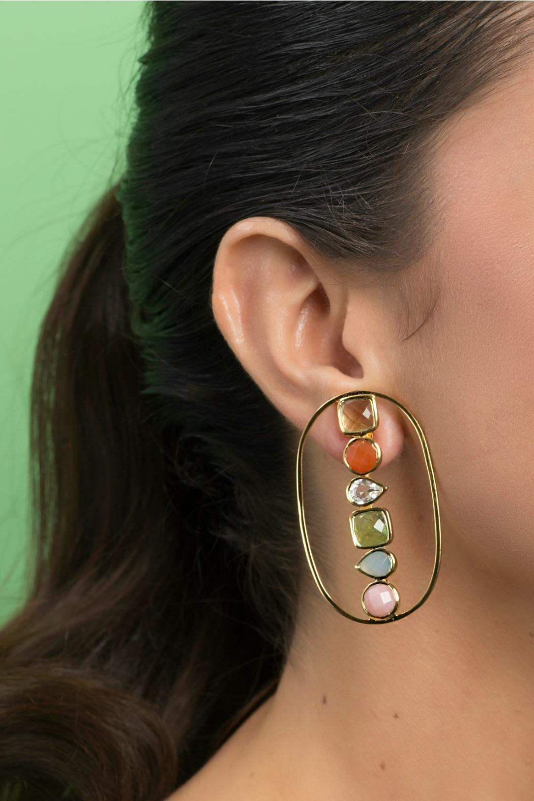 Jaimie Nicole Color Stone Earrings - Side Cropped Image