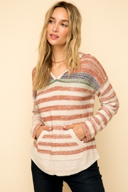 Hem & Thread Color Stripe Pocket Front Hoodie Sweater - Product Mini Image