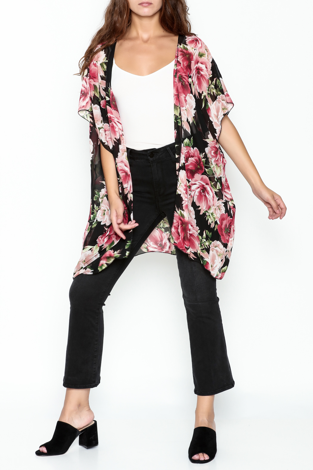 Color Swatch Floral Kimono - Side Cropped Image
