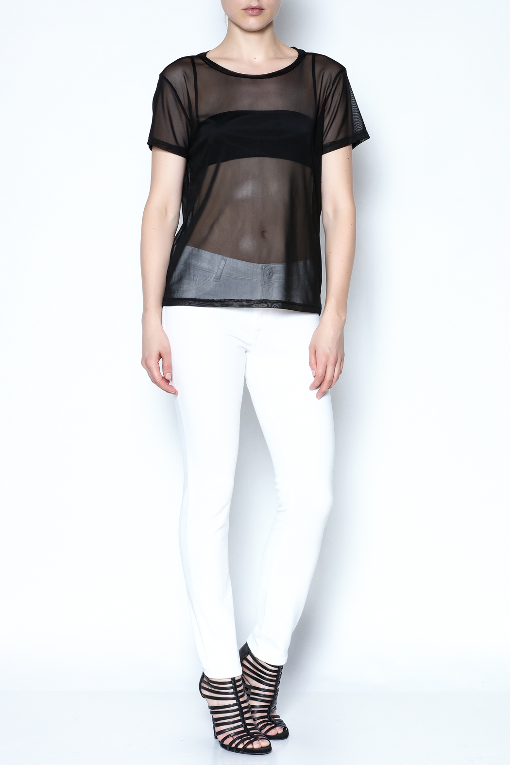 Color Thread Boxy Mesh Top - Side Cropped Image