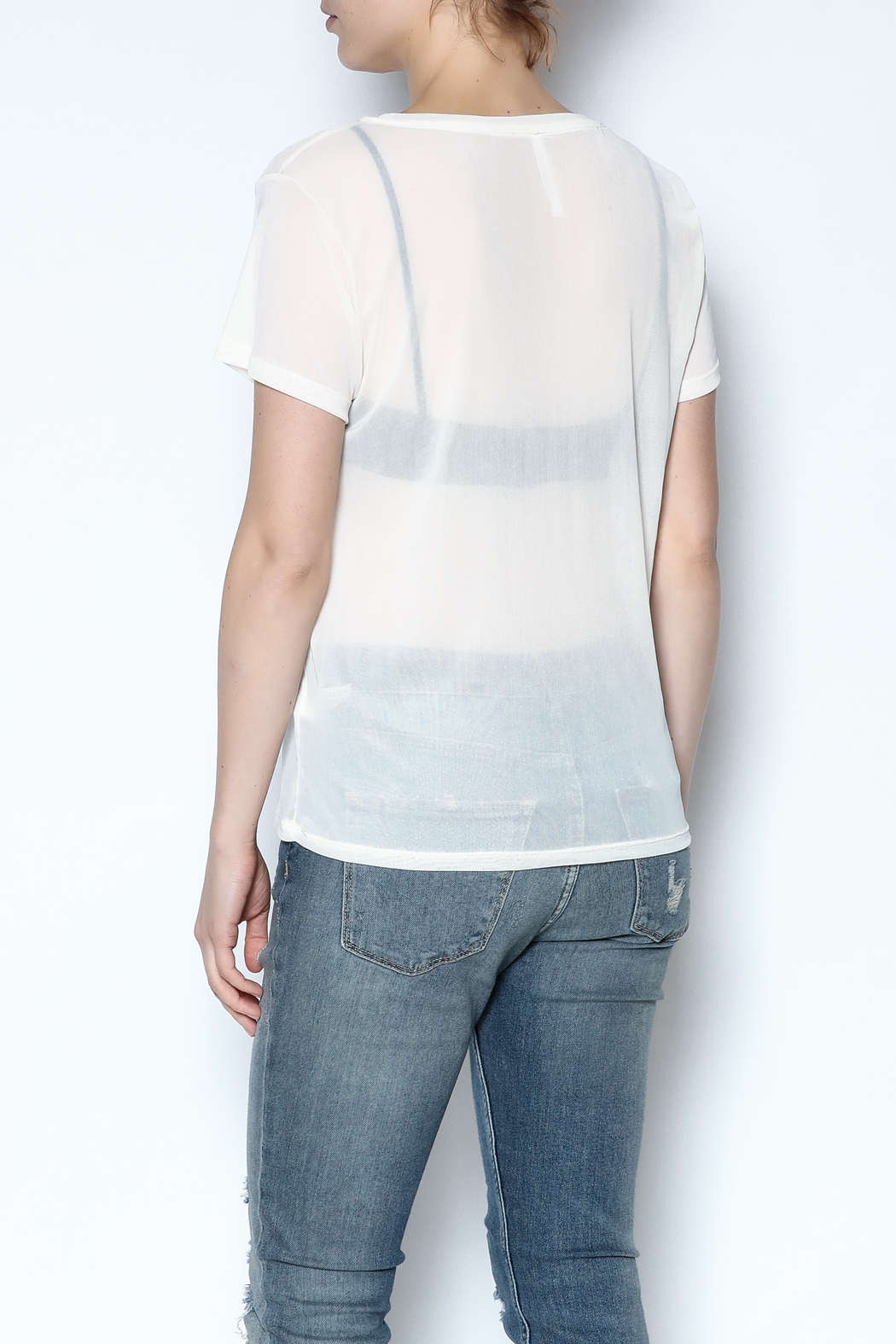 Color Thread Boxy Mesh Top - Back Cropped Image