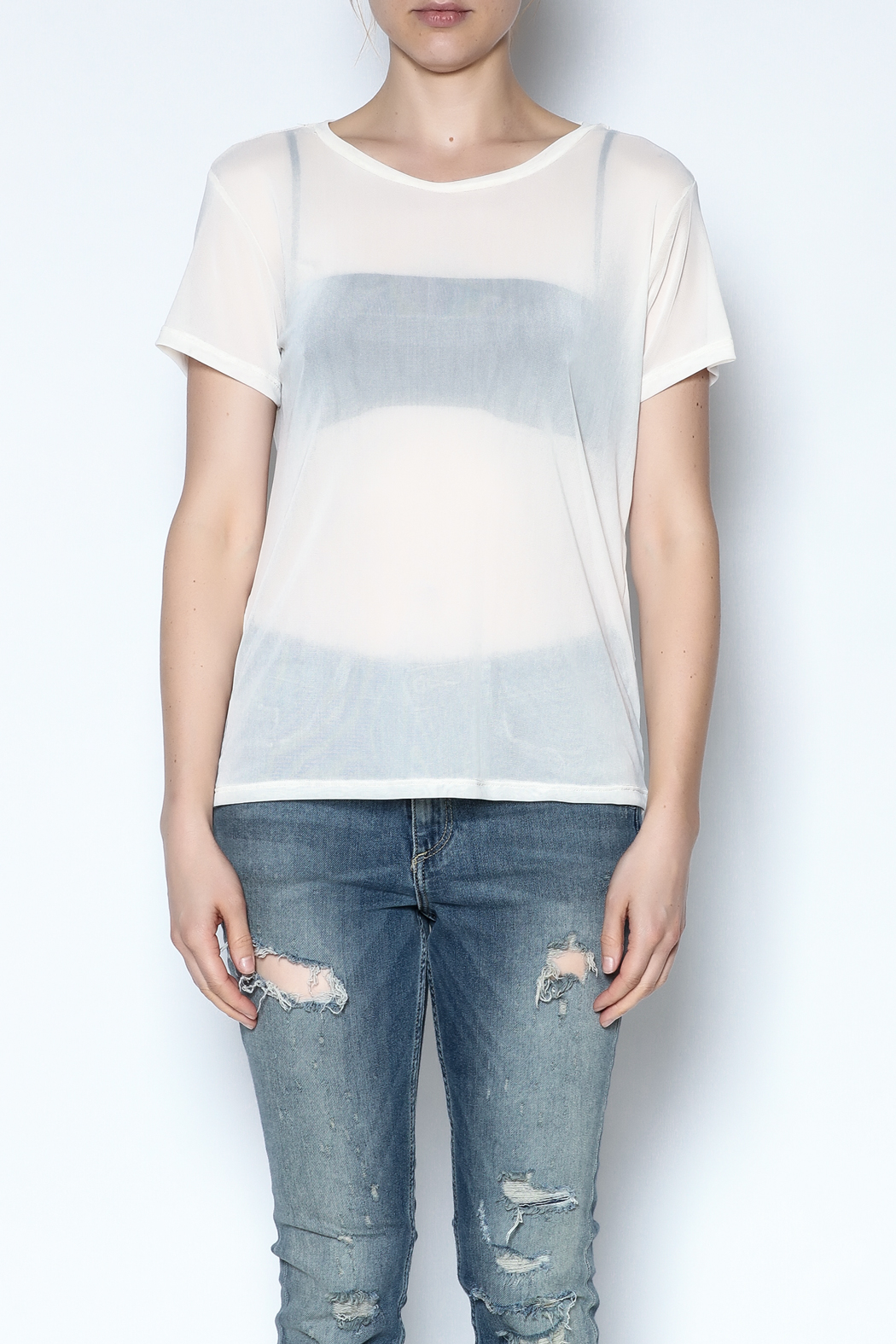 Color Thread Boxy Mesh Top - Front Full Image