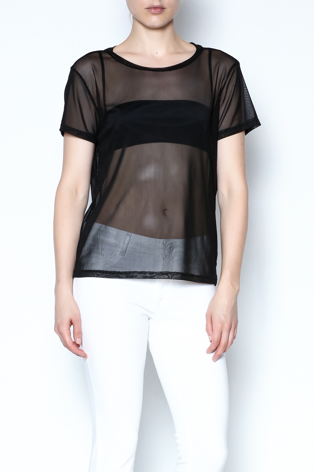 Color Thread Boxy Mesh Top - Front Cropped Image