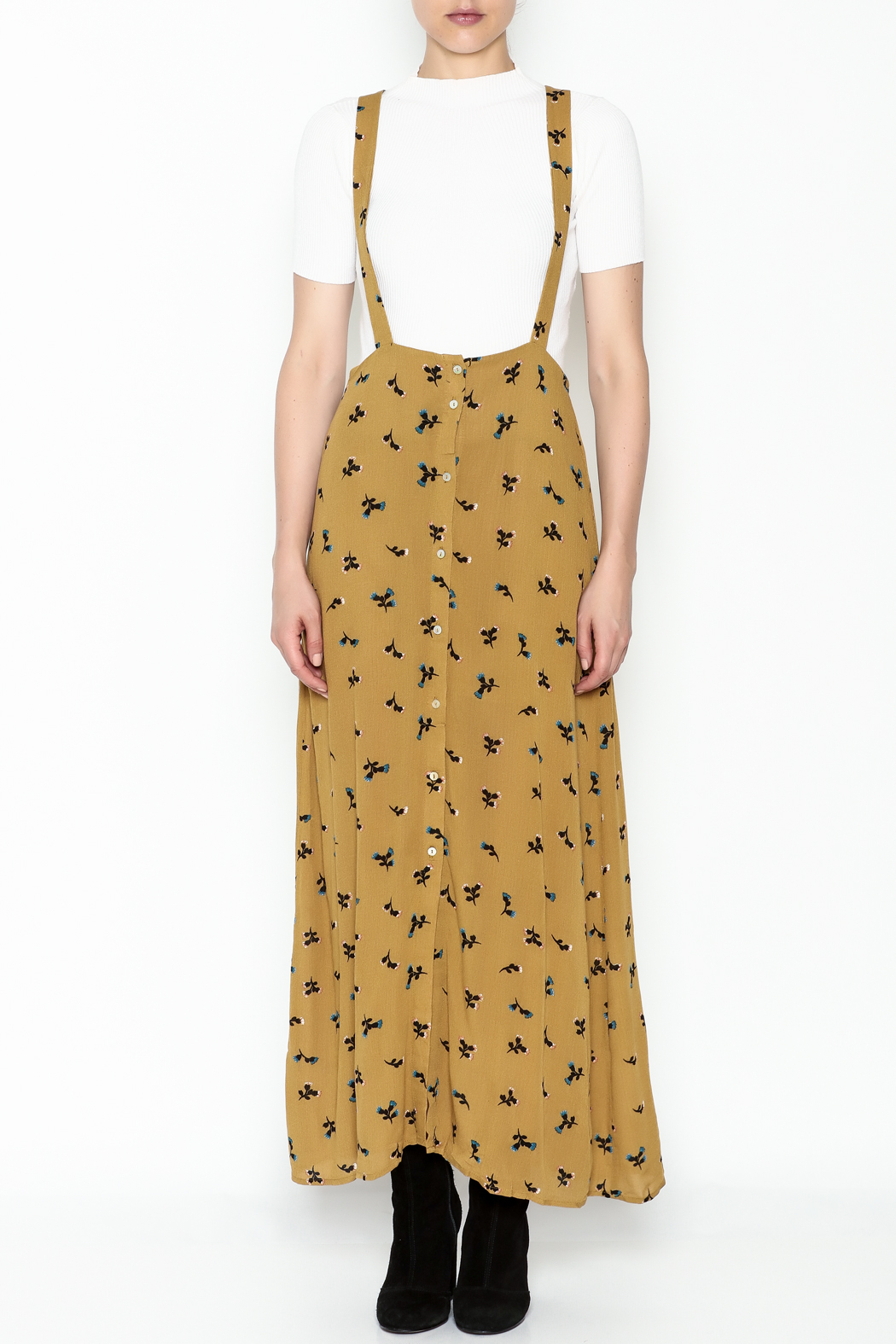 Color Thread Overall Maxi Skirt - Front Full Image