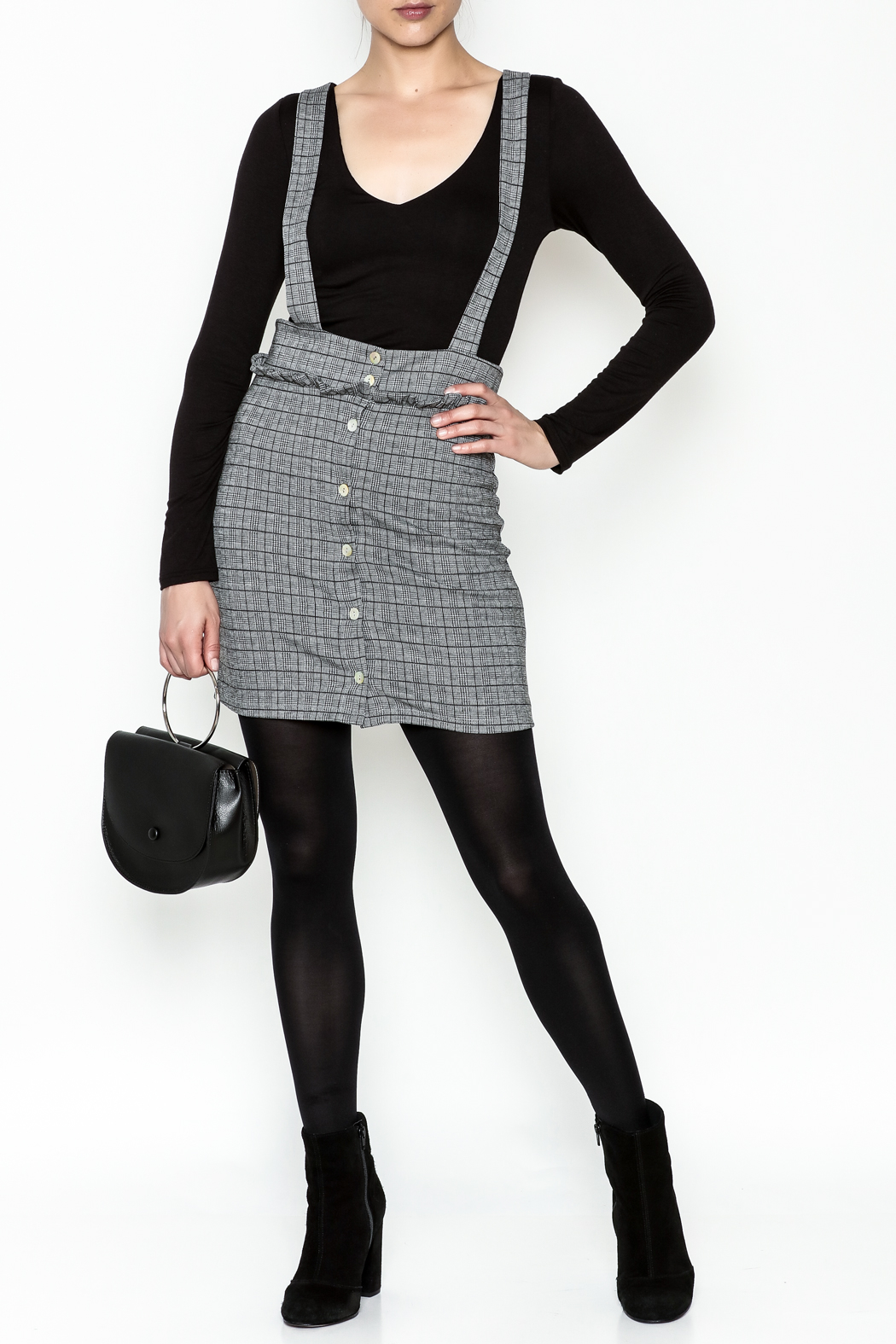Color Thread Plaid Suspender Skirt - Side Cropped Image