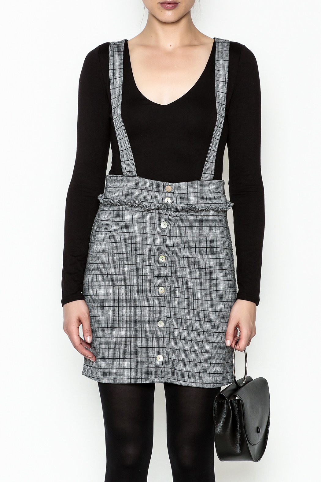 Color Thread Plaid Suspender Skirt - Front Full Image