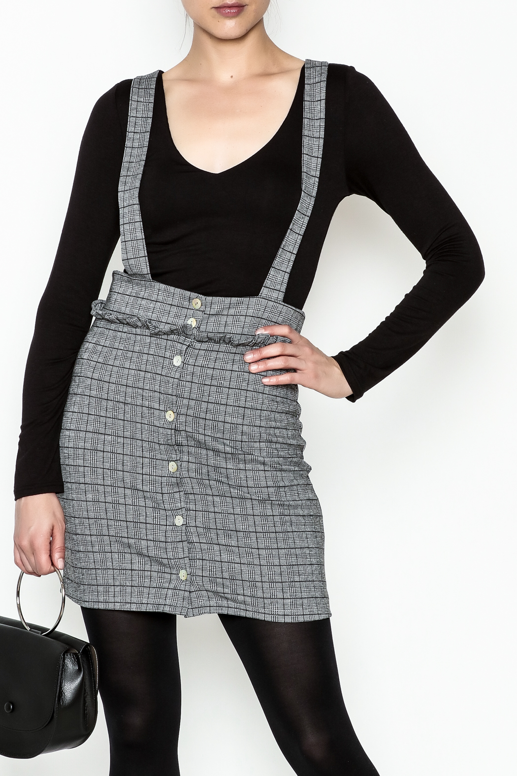 Color Thread Plaid Suspender Skirt - Front Cropped Image