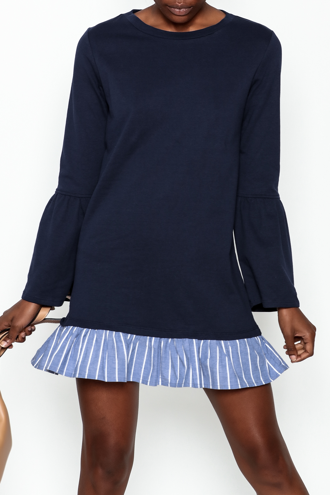 Color Thread Ruffle Bottom Dress - Front Cropped Image