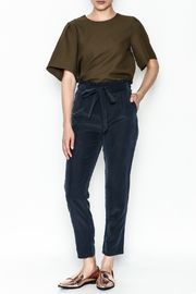 Color Thread Ruffle Waist Pants - Side cropped