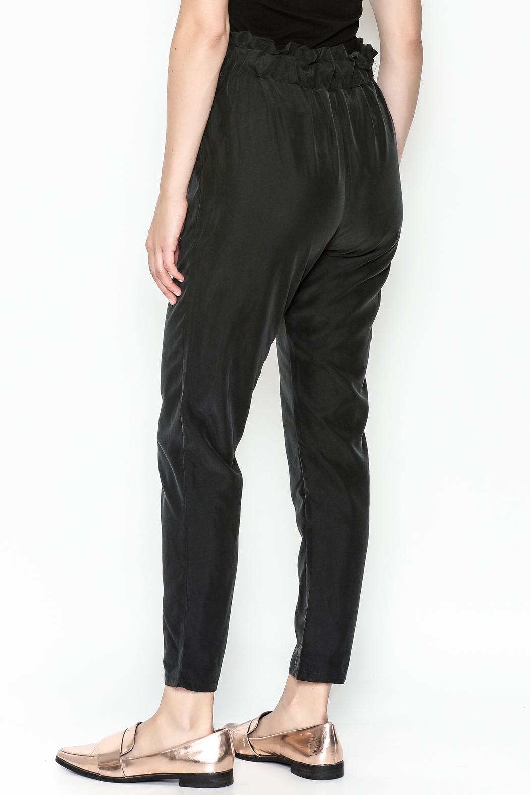 Color Thread Ruffle Waist Pants - Back Cropped Image