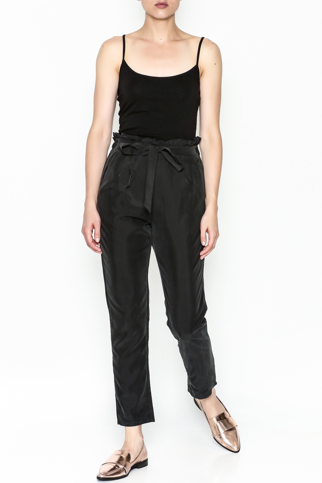 Color Thread Ruffle Waist Pants - Side Cropped Image