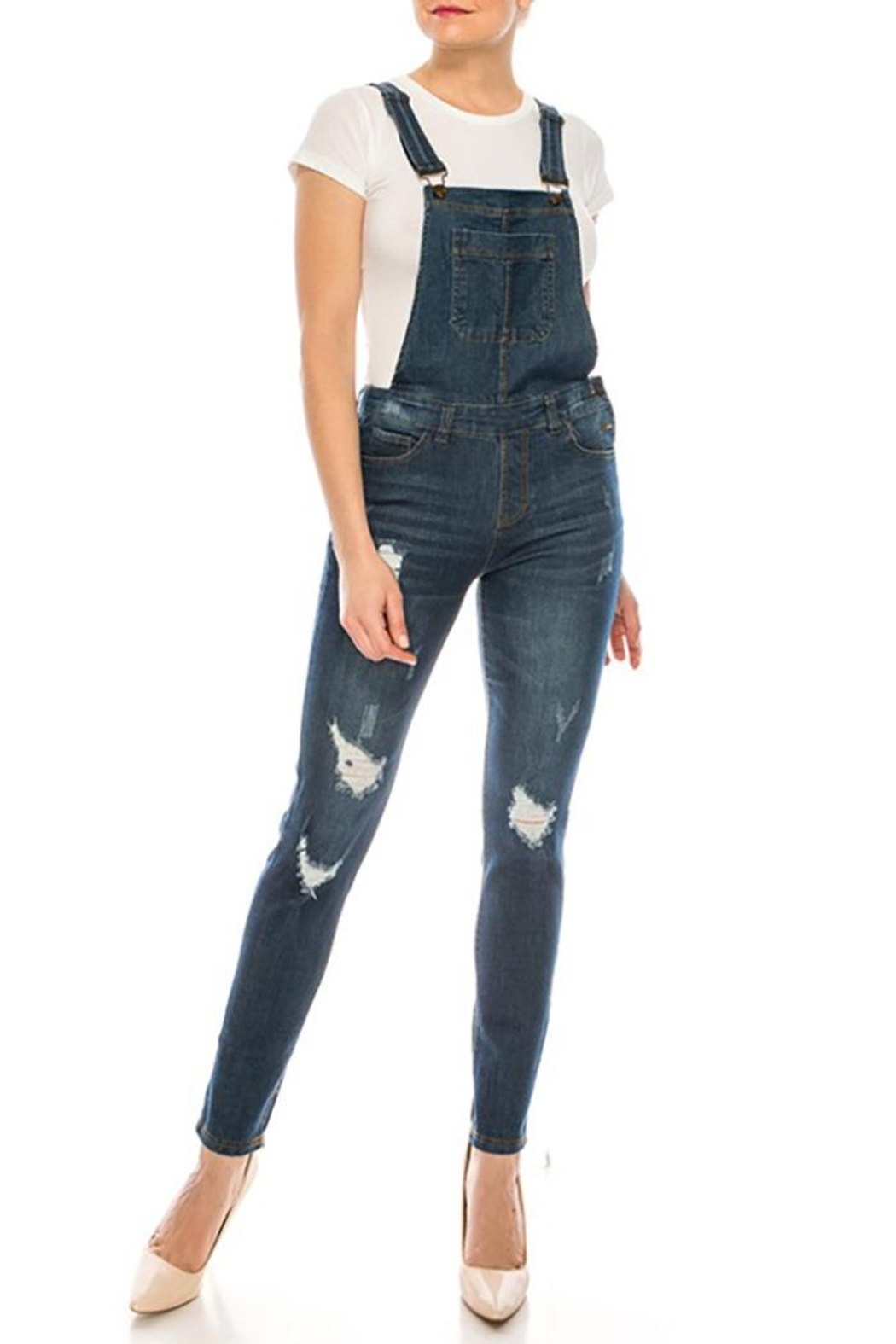 Color 5 Baggy Denim Overalls Jumpsuit Harem Pants - Back Cropped Image