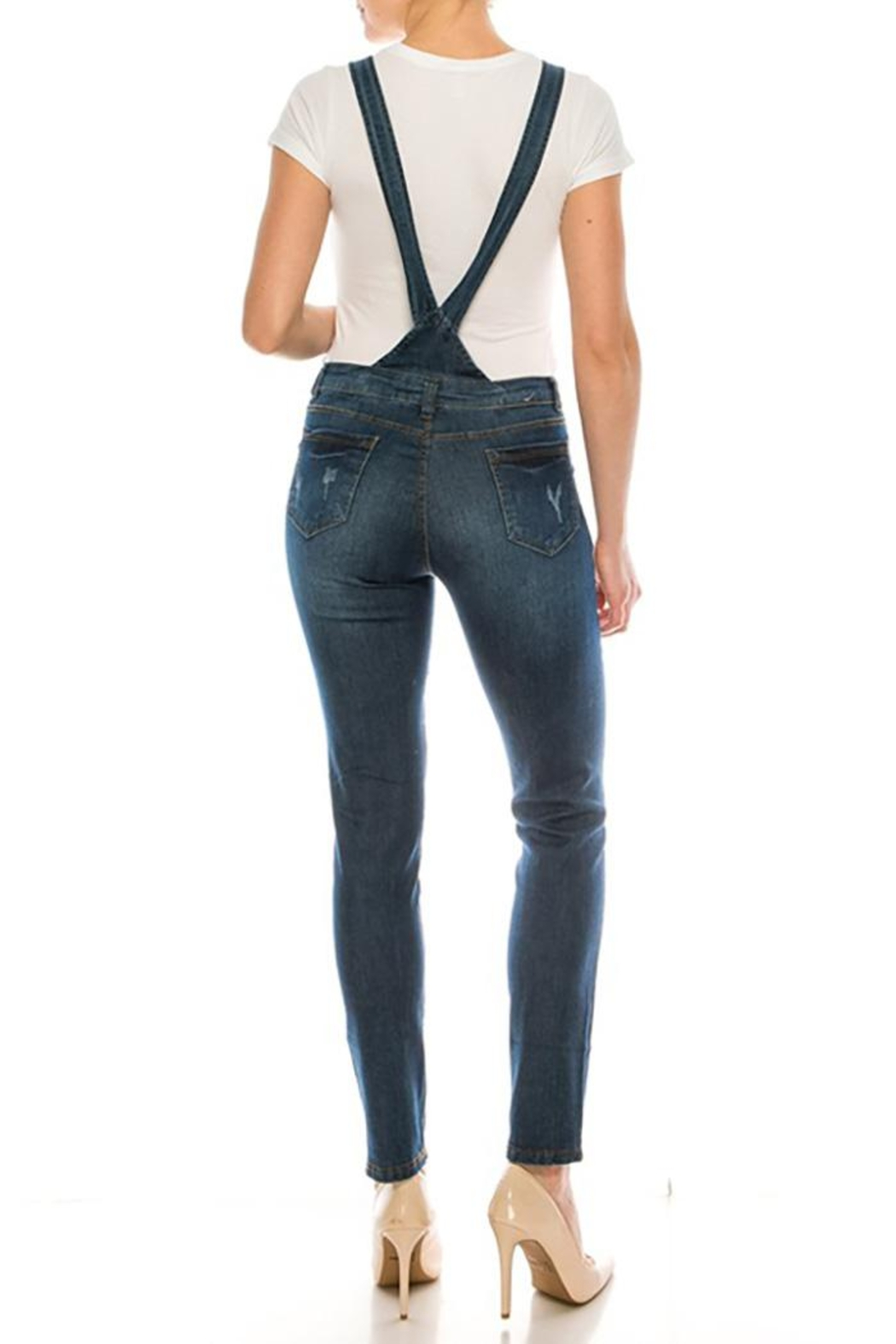 Color 5 Baggy Denim Overalls Jumpsuit Harem Pants - Front Full Image