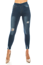 Color 5 Distressed Denim Jegging - Product Mini Image