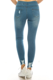 Color 5 Fashion Pull On Denim Jegging Pants - Front full body