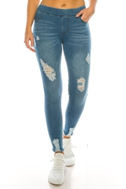 Color 5 Fashion Pull On Denim Jegging Pants - Front cropped