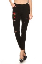 Color 5 Floral Patch Jeggings - Product Mini Image