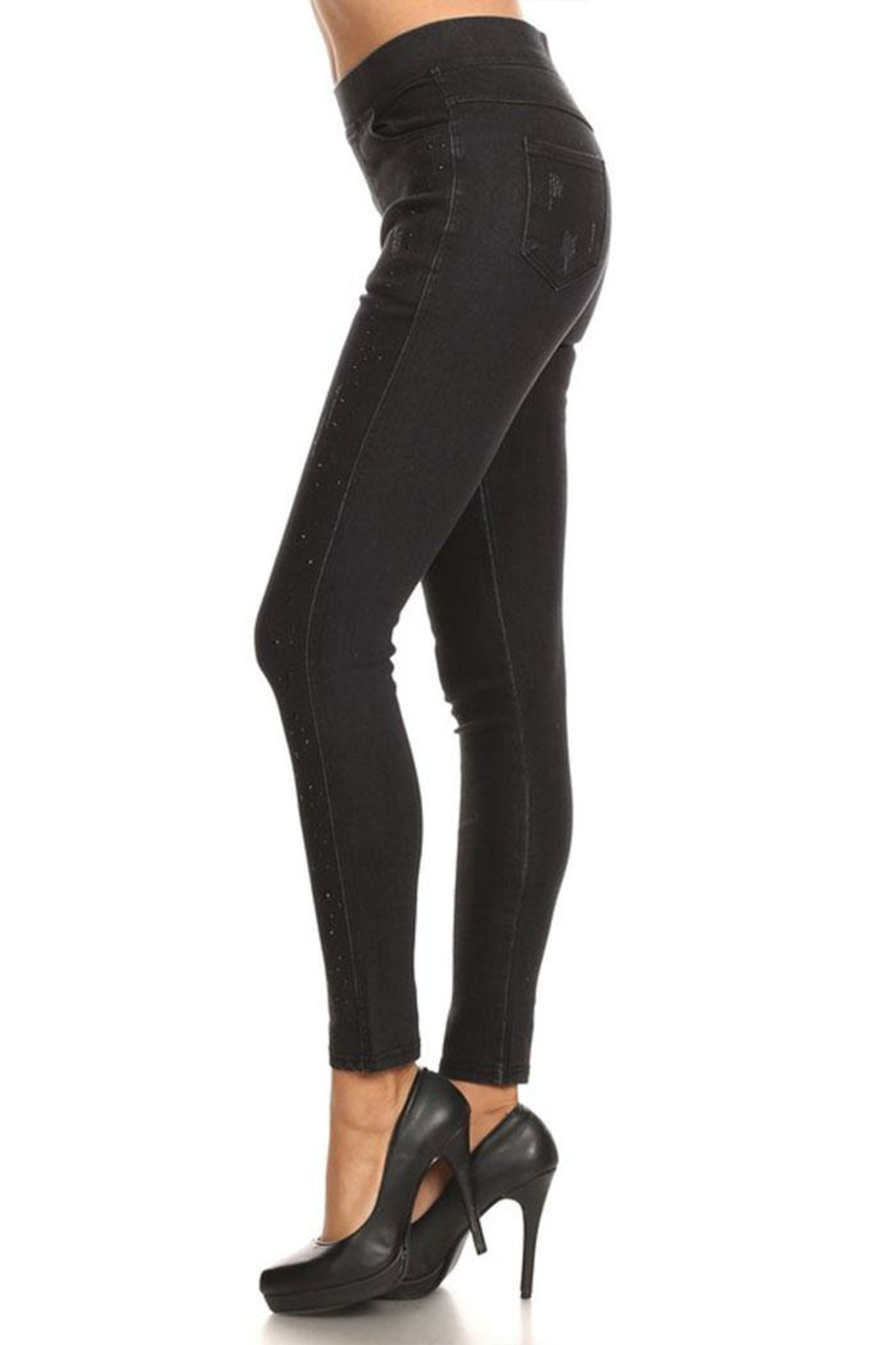 Color 5 Rhinestone Print Jeggings - Side Cropped Image