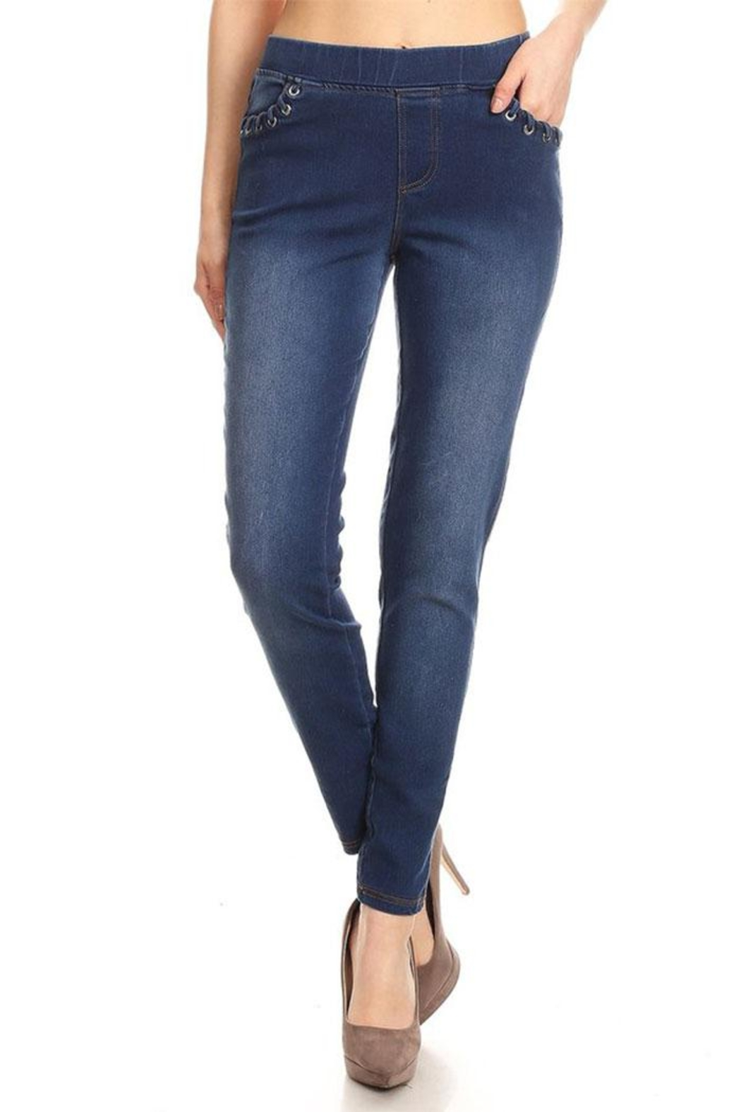 Color 5 Skinny Fit Jeggings Elastic Waistband - Main Image