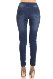 Color 5 Skinny Fit Jeggings Elastic Waistband - Front full body