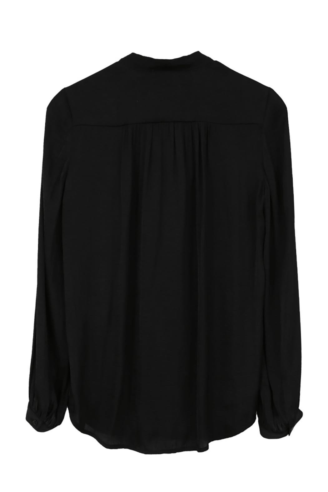 Color Block Black Tie Blouse - Side Cropped Image
