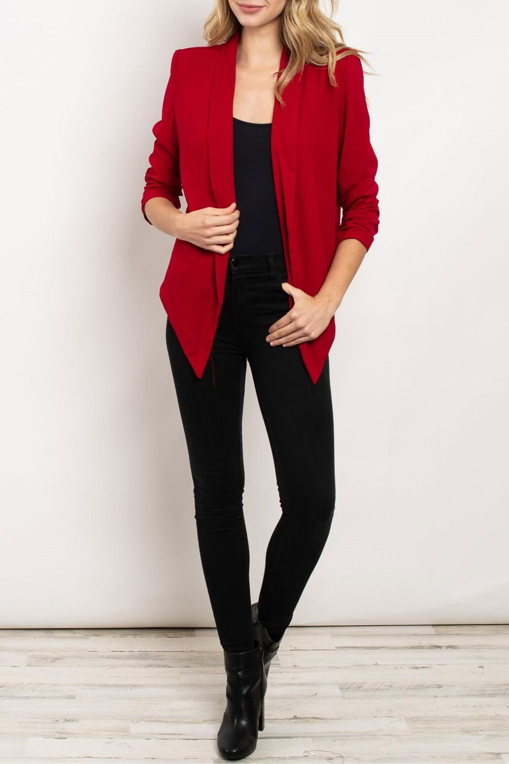 Color Swatch Burgundy Open-Front Blazer - Main Image