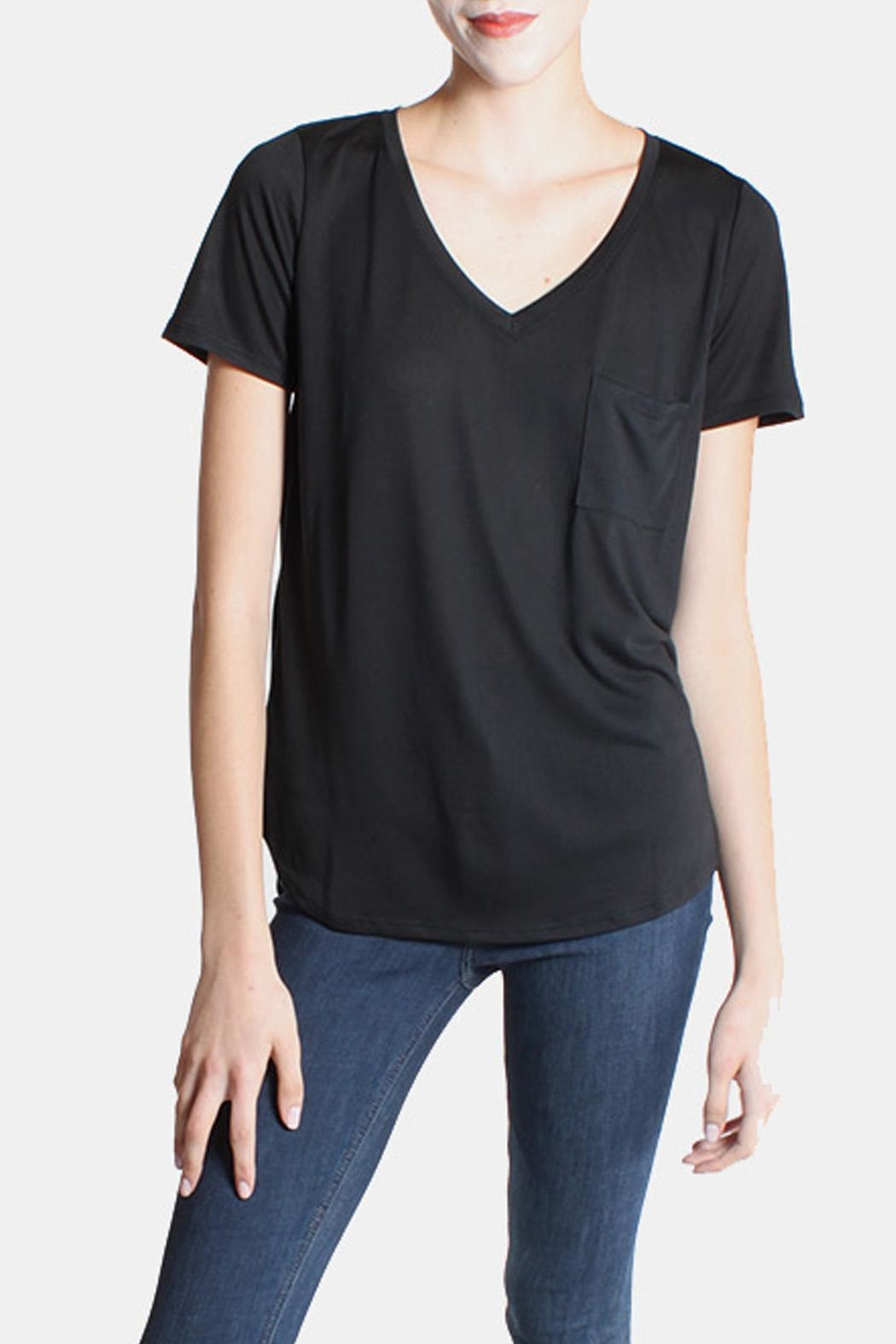 Color Thread Black Boyfriend Tee - Front Cropped Image