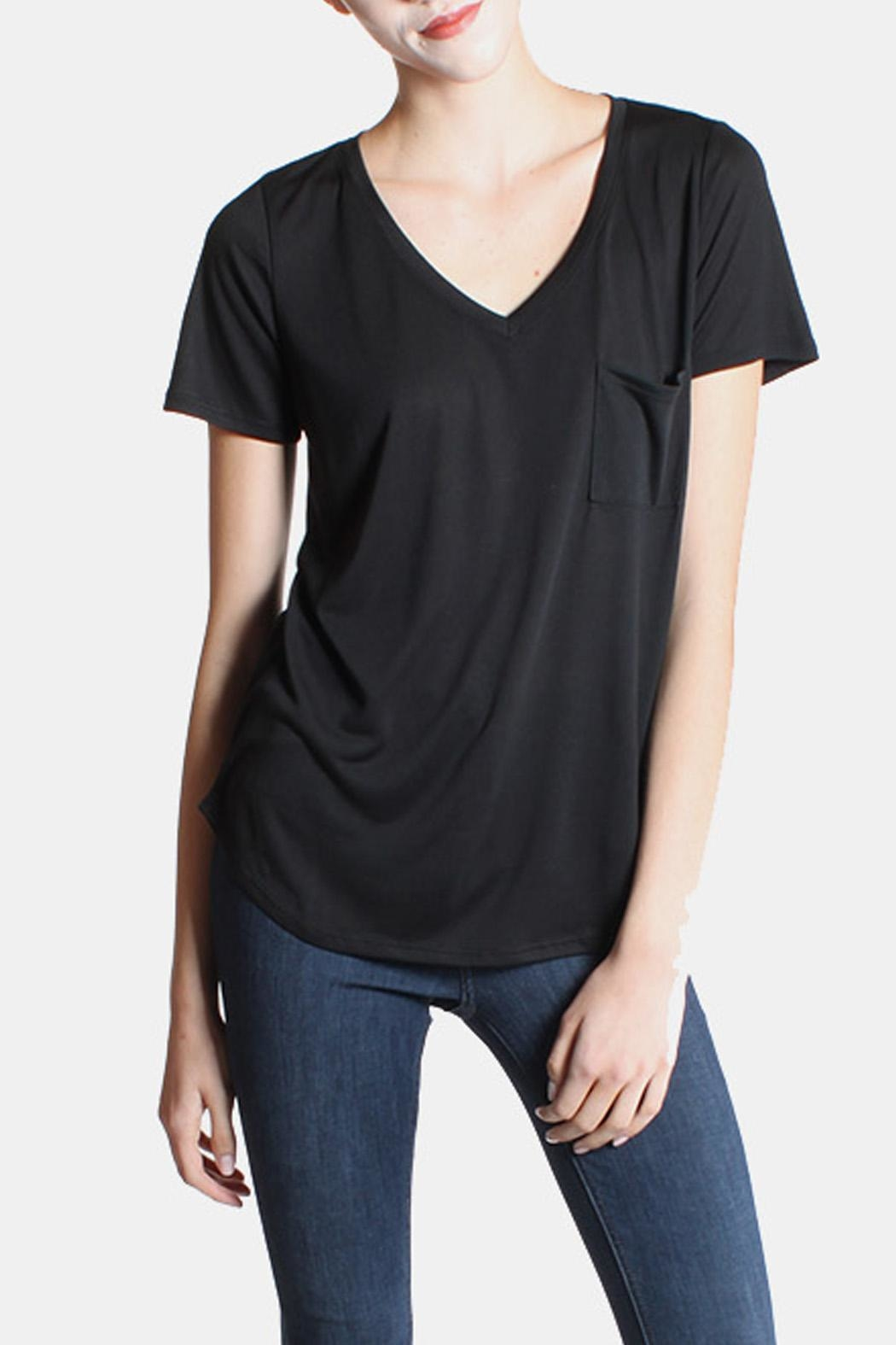 Color Thread Black Boyfriend Tee - Front Full Image