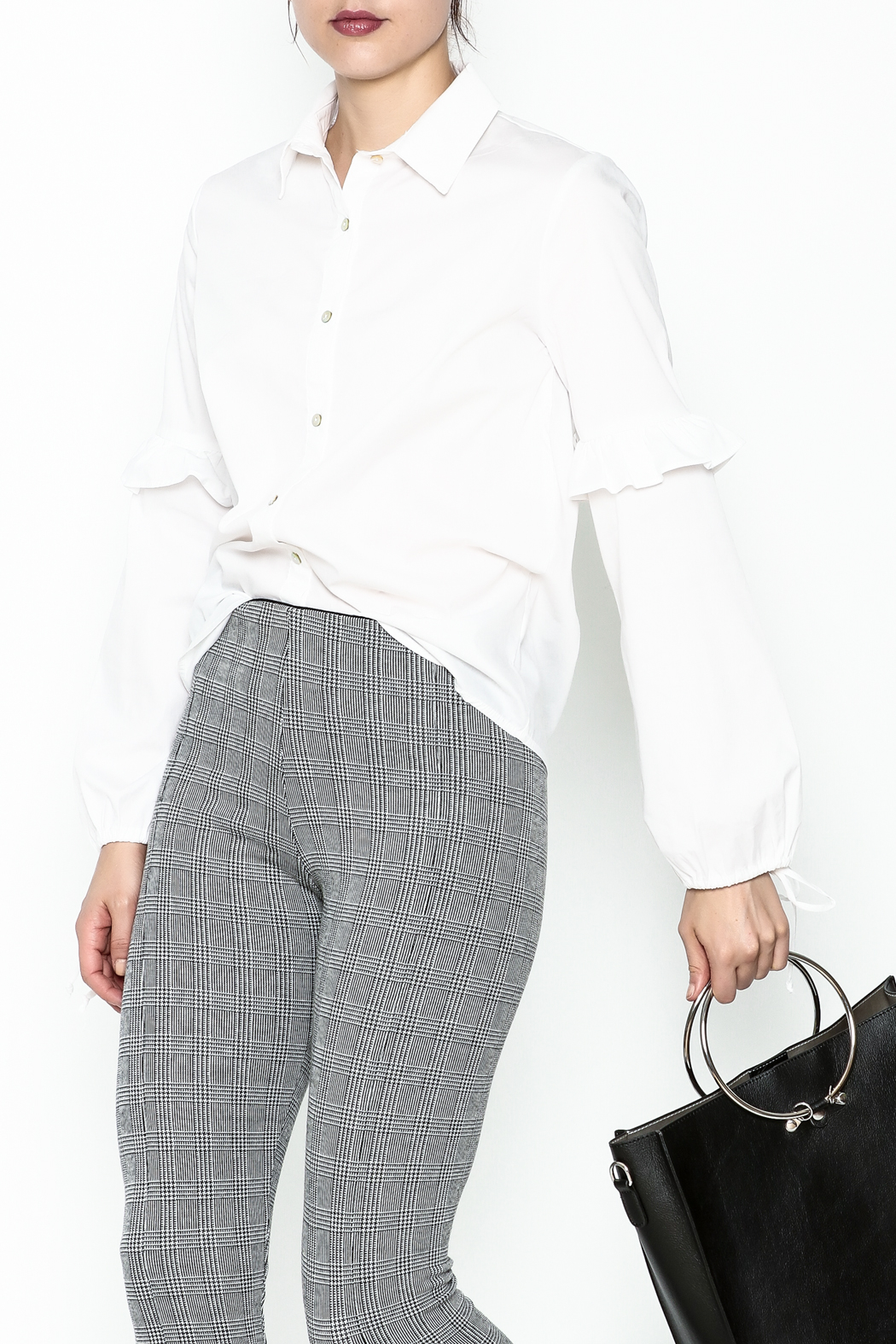 Color Thread Button Down Shirt - Front Cropped Image