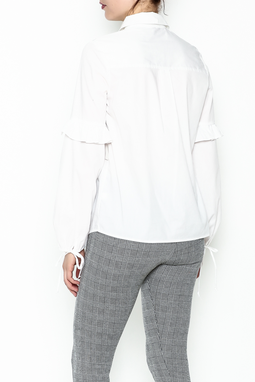 Color Thread Button Down Shirt - Back Cropped Image