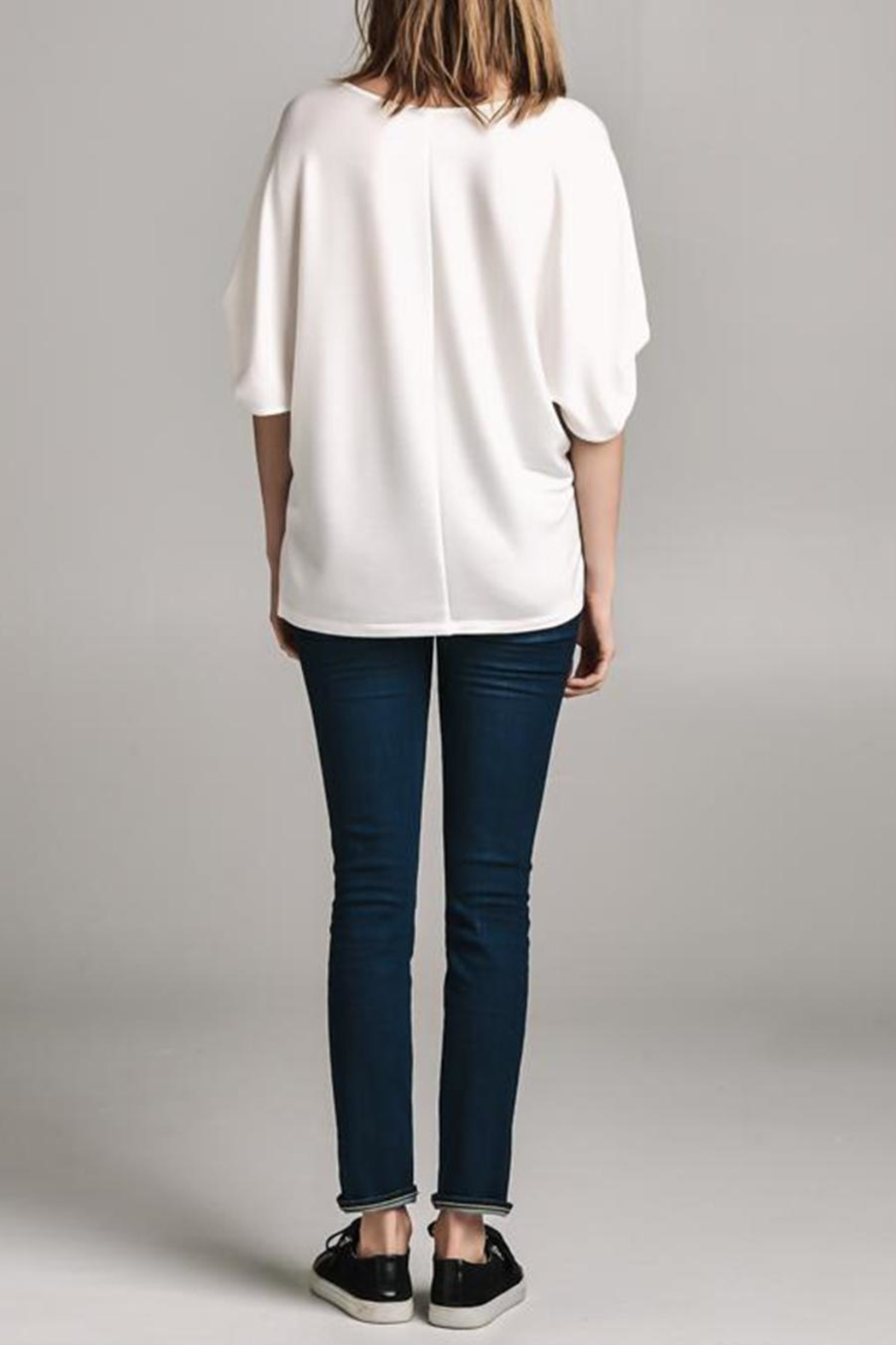 Color Thread Gathered Sleeve Top - Back Cropped Image
