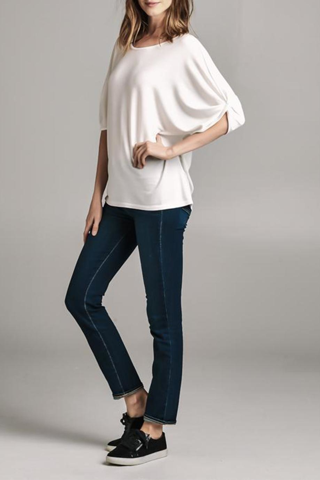 Color Thread Gathered Sleeve Top - Front Full Image